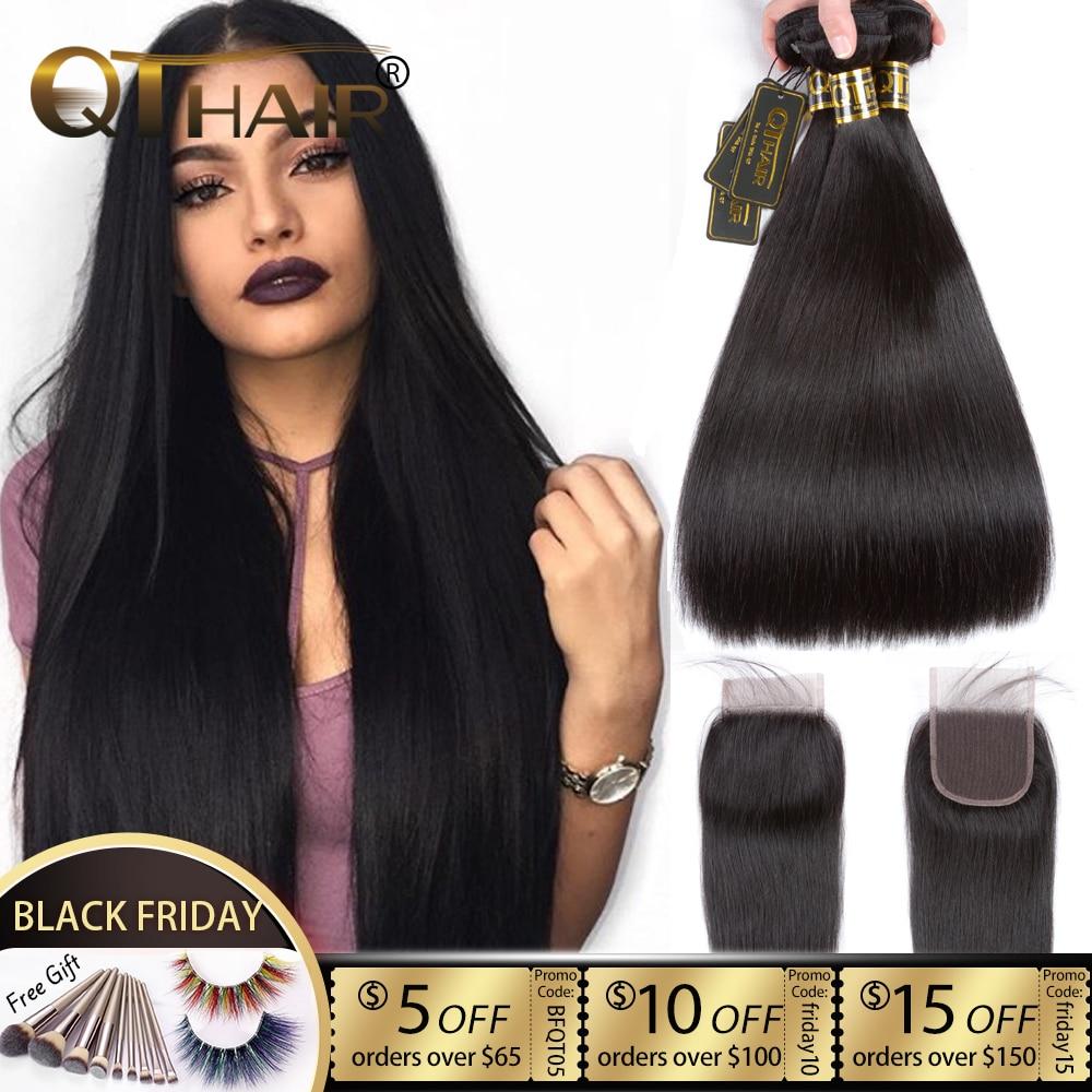 QT Hair Straight Hair Bundles With Closure Human Hair Bundles With Closure Brazilian Remy Hair Weave Bundles With Closure