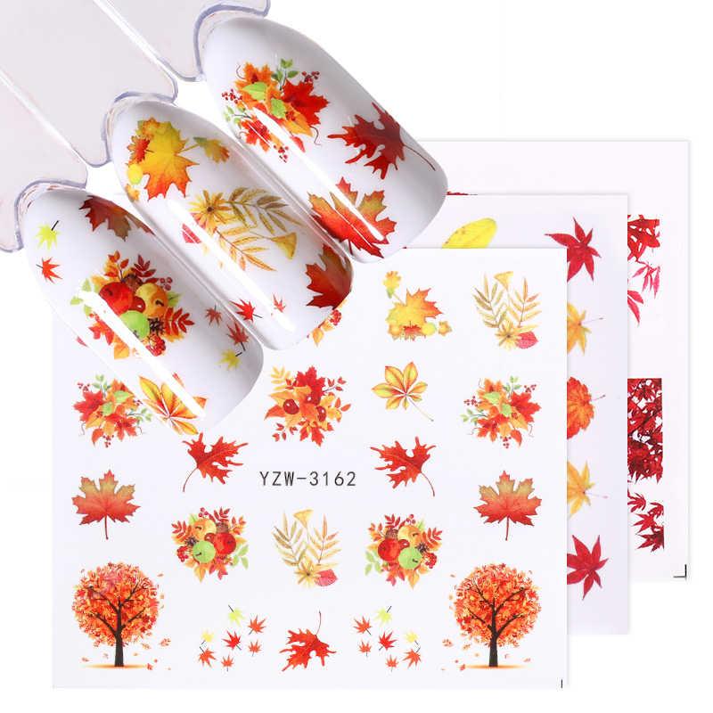 1Pc 6.1*5.3Cm Watermerk Fall Bladeren Nail Decals Herfst Geel Maple Leaf Nail Art Stickers Diy Manicure slider Decoraties Tips
