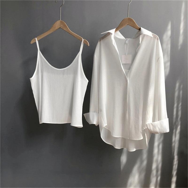 High quality 2pcs Women Blouse Shirt 2020 Summer Solid All match Satin Blouses Shirts Femal Blouse+halter tops Z1082 (1)