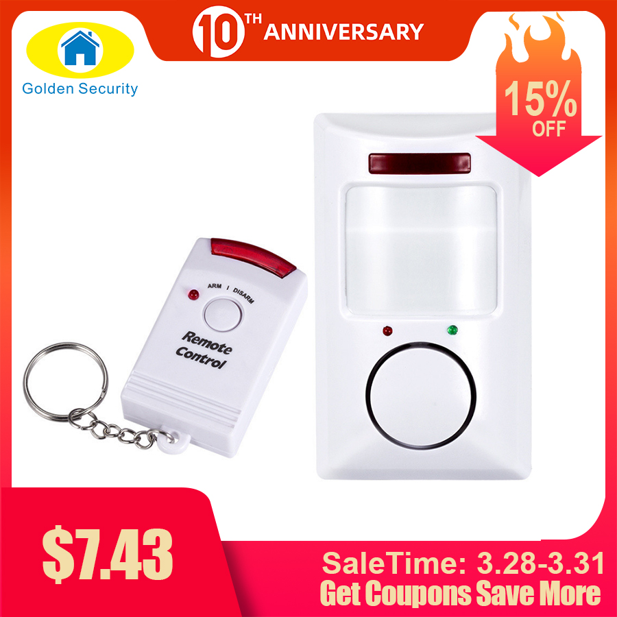 Alarm-System Motion-Detector PIR Infrared Golden-Security Anti-Theft 2-Controllers Portable title=