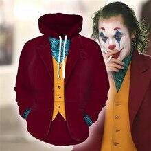 Film Joker 2019 Joaquin Phoenix Cosplay Hoodies Batman palyaço 3D kapüşonlu eşofman üstü erkekler kadınlar için kostümleri üstleri