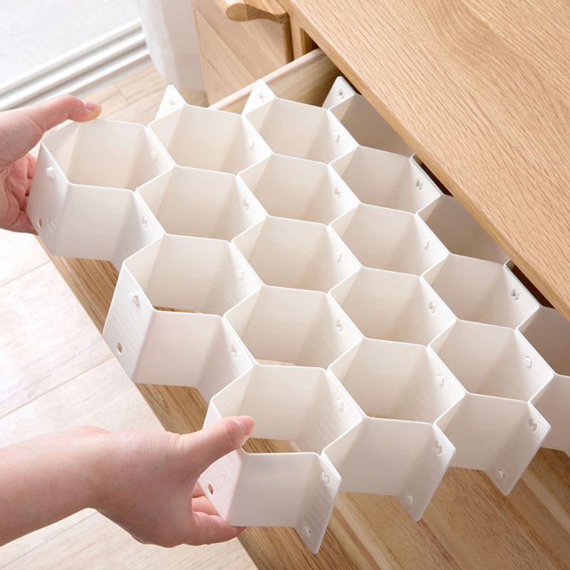 2021 New Honeycomb Shape Drawer Organizer 8 Pcs Closet Dividers Plastic Partition For Small Clothing And Cosmetic Clapboard