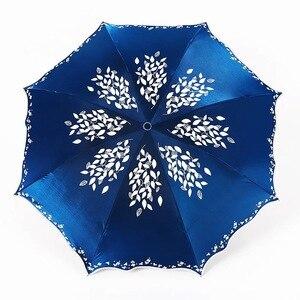 Image 4 - Quality Sun Umbrella Rain Women Fashion Princess Leaves Double Umbrellas Female Parasol Portable Creative Female Gift