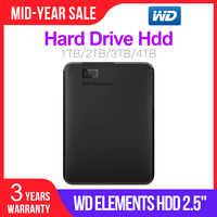 "Western Digital WD Elements USB3.0 External hdd 1TB HD 2.5"" Portable Hard Drive Disk 2TB 4TB Portable Hdd for PC laptop"