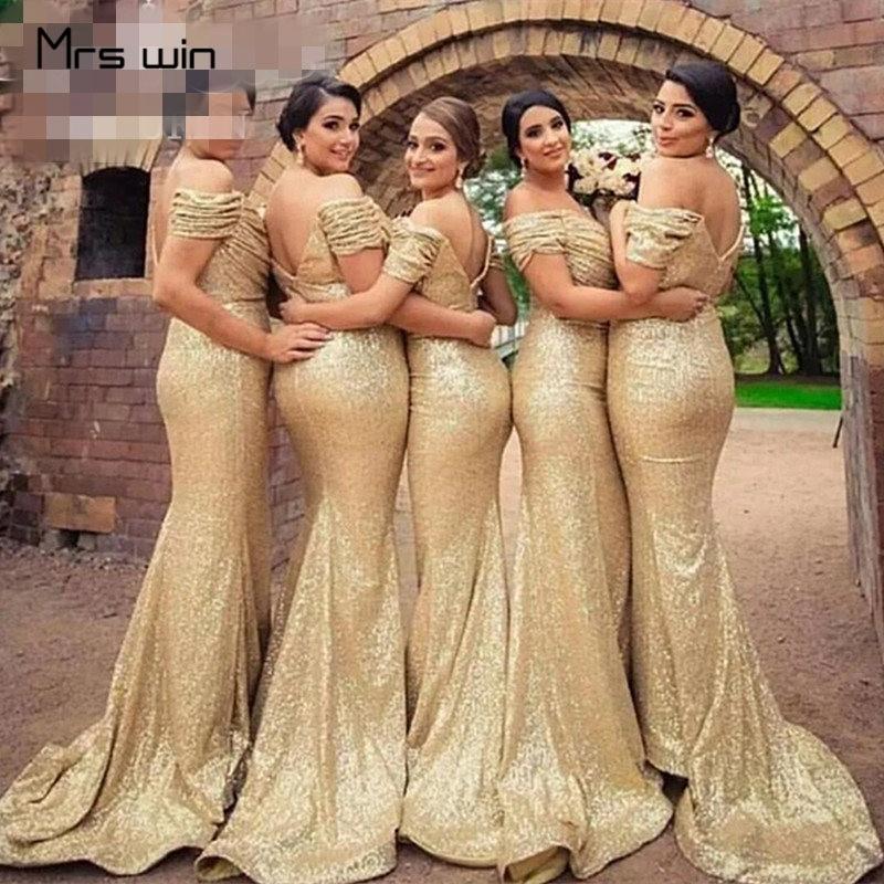 Mrs Win Bridesmaid Dress Gold Sequins Shining Wedding Guest Dress Mermaid Long Boat Neck Off Shoulder Vestido Madrinha HR112