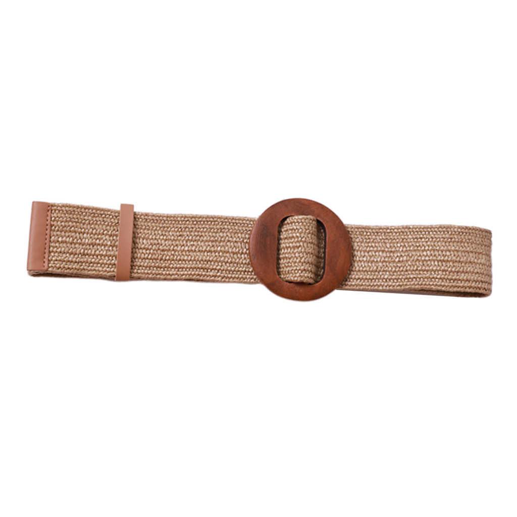 Kobiety pleciony słomy pas Cinch pasek z okrągłe drewniane klamra