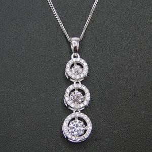 Женский кулон с тремя камнями из кубического циркония, ожерелье из серебра 925 пробы с бриллиантами для танцев, подарок на помолвку