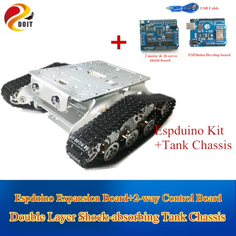 Original DOIT Caeser TSD300 4WD Shock Absorption Crawler Metal Tank Car Chassis based on ESPduino Development Kit Smart Robot