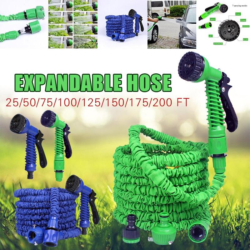 25FT 200FT elastyczny wąż ogrodowy rozbudowy magiczny wąż wodny ue plastikowa wąż ogrodowy z pistoletem natryskowym do podlewania myjni samochodowej