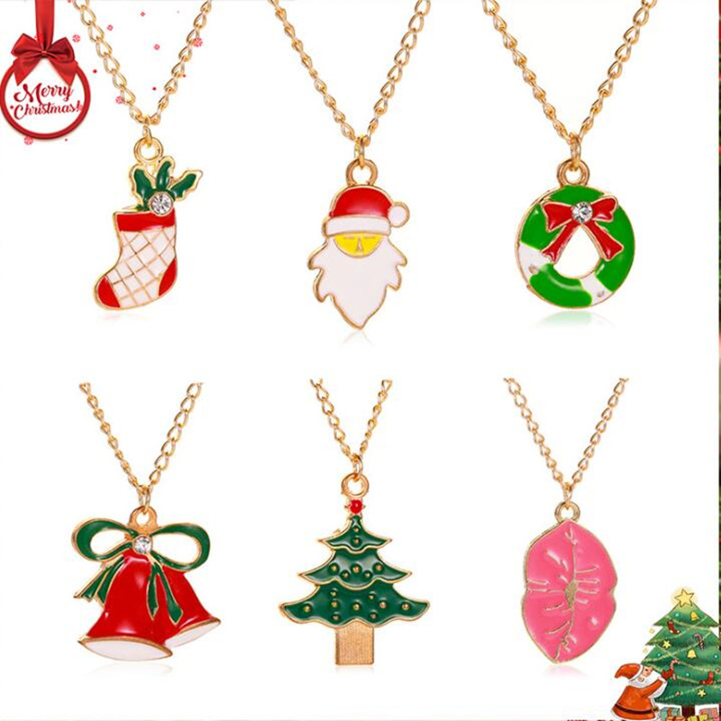 Timlee N037  New Cute  Socks Tree Small Bell Lips Rhinestone Alloy  Necklaces,Christmas Gift Fashion Jewelry wholesale.