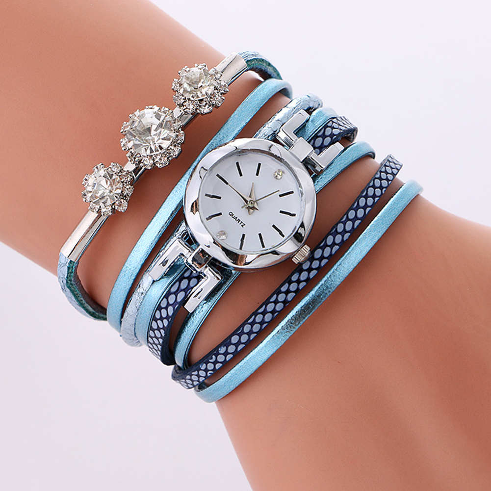 New High Quality Women Genuine Rhinestone Vintage Quartz Dress Watch Bracelet Wristwatches Leaf Gift Christmas
