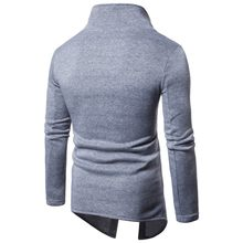 Voorjaar Nieuwe Mannen Turleneck Sweater Single Breasted Button Punk Tops Casual Streetwear Rock Harajuku Slit Moleton Masculino Navy(China)