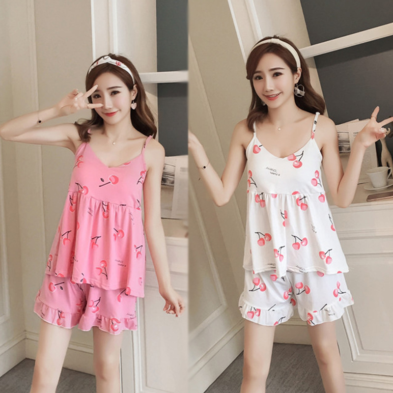 With Chest Pad Pajamas Female Summer Camisole Sweet Cute Korean-style Sexy Two-Piece Set Small Cherry GIRL'S Home Wear