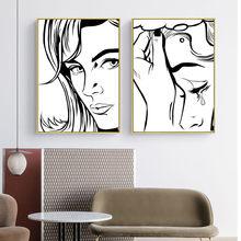 Preto e branco dos desenhos animados mulher chorar pendurado imagem poster impressão em tela pintura da parede sala de estar decoração casa