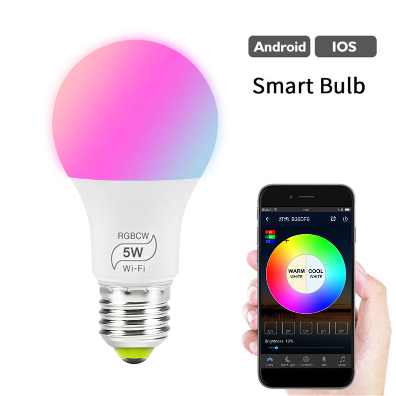 Dimmable 15W E27 WiFi Smart Light Bulb LED Lamp Smart Life/Tuya Alexa Google Assistant Voice Control Wake Smart Lamp Night Light