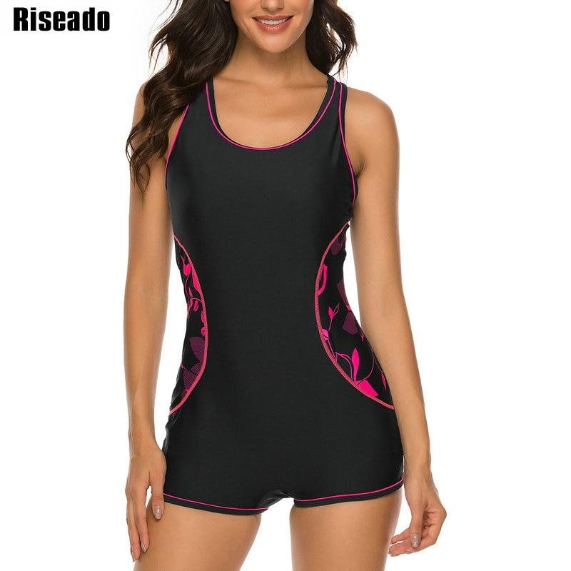 Riseado New Printing Sport One Piece Swimsuit Competitive Swim Wear Black Patchwork Bathing Suit Boyleg Swimming Suit 2020(China)