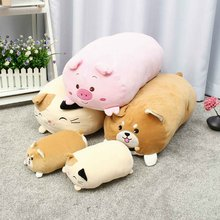 New 3 type New Plush Toy Pillow kids Gift Cute cat pig dog Cartoon Animal Doll Sleeping Soft Sofa Decor Stuffed Toys Warmer 60/3(China)