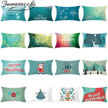 Fuwatacchi Christmas Cushion Covers Deer Printed Pillowcase Decoratives Throw Coussin Decoratif Sofa Decor Accessories 30x50cm