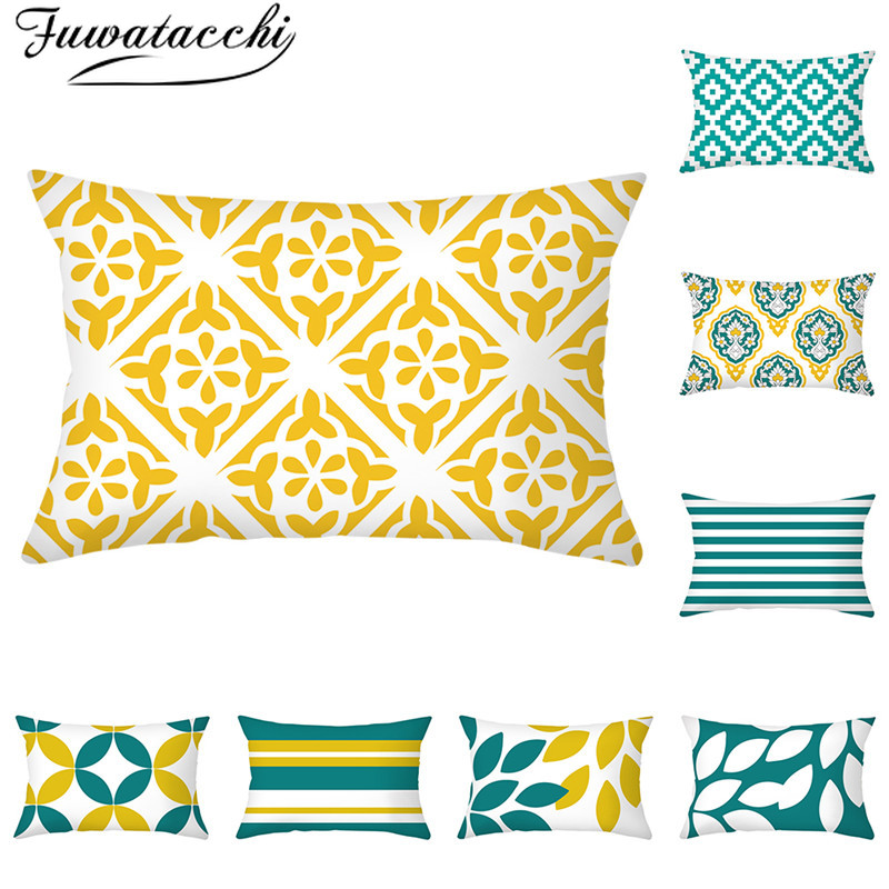 Fuwatacchi Yellow Blue Geometric Pattern Pillow Case Black Geometry Printed Cushion Covers For Home Sofa Decorative Pillowcases
