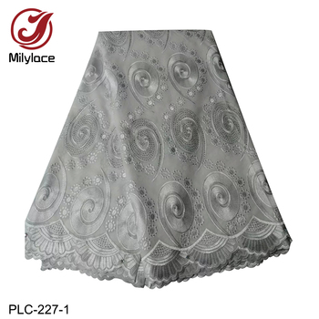 High Quality African Swiss Cotton Lace Fabric with Stones Nigerian Style Voile Cord Lace Fabric for Garment PLC-227