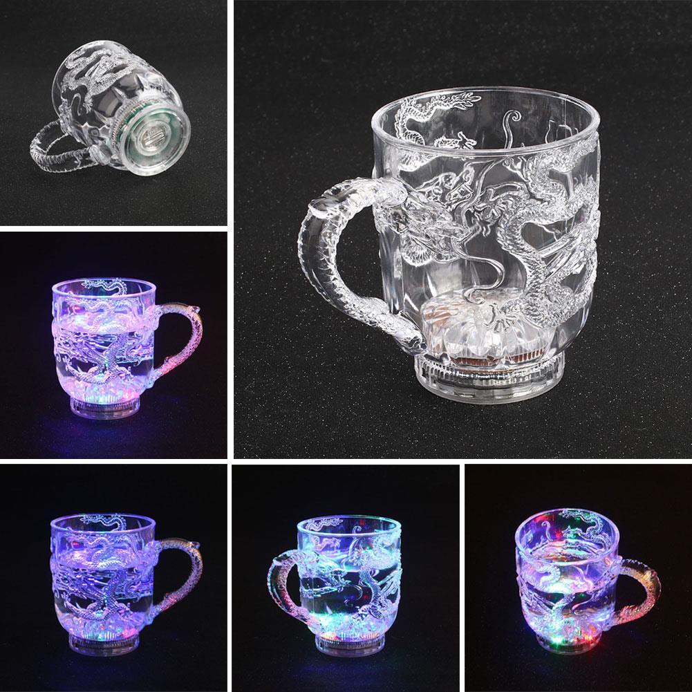 Универсальное стекло для вина, Led крутая мигающая посуда, светящаяся чашка, пластиковый активированный Дракон светильник, изменение цвета