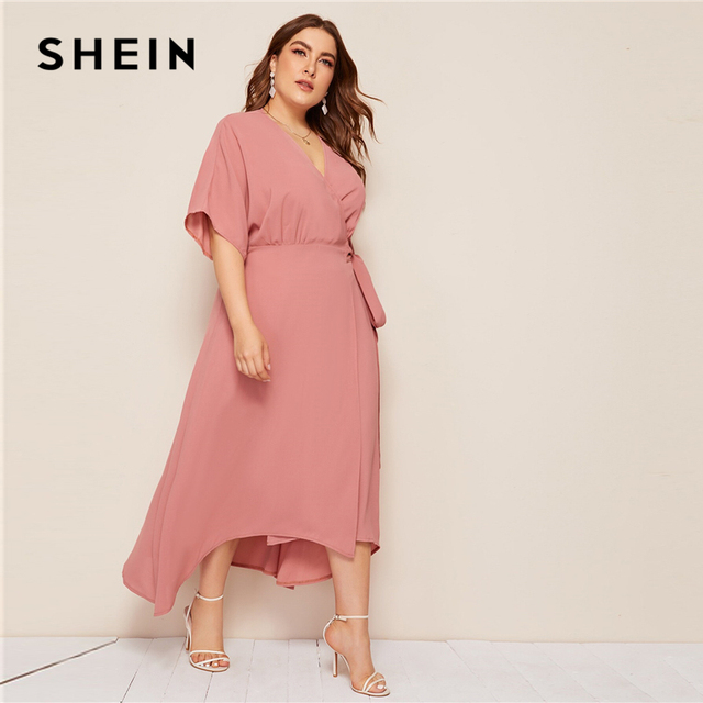 SHEIN Plus Pink Size Solid Surplice Neck Wrap Belted Maxi Dress Women Autumn Kimono Sleeve A Line High Waist Elegant Dresses 2