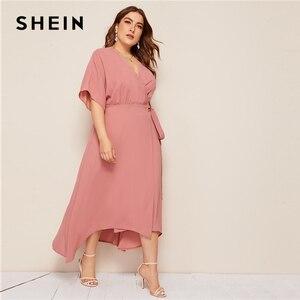 Image 3 - SHEIN Plus Rosa tamaño sólido Surplice cuello abrigo con cinturón Maxi Vestido Mujer otoño Kimono manga A línea alta cintura elegante vestidos