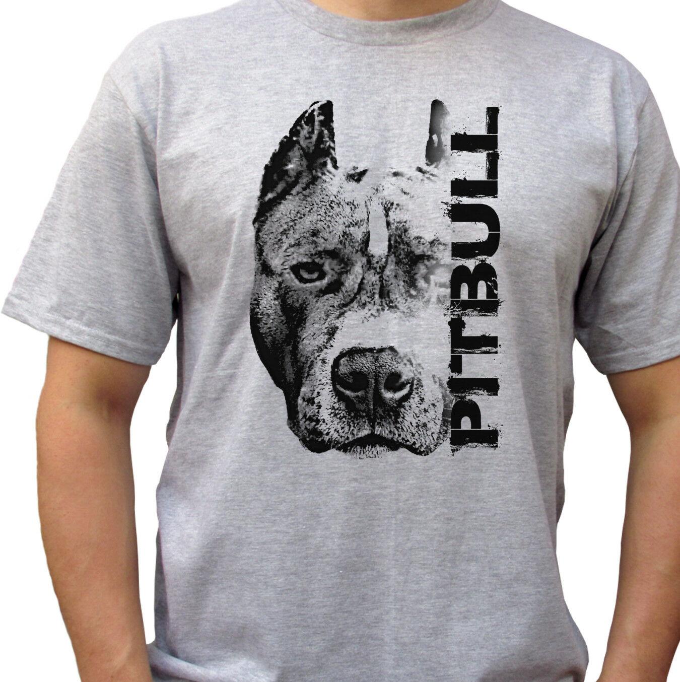 Pitbull голова серая футболка Топ питбулл футболка собака дизайн Мужские размеры