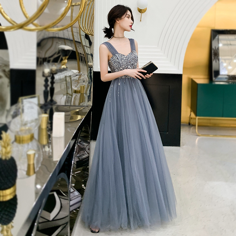 Evening Dresses Sparkling Crystal A Line Floor Length Women Party Dresses Sexy Spaghetti Strap Bandage Back Robe De Soiree K277