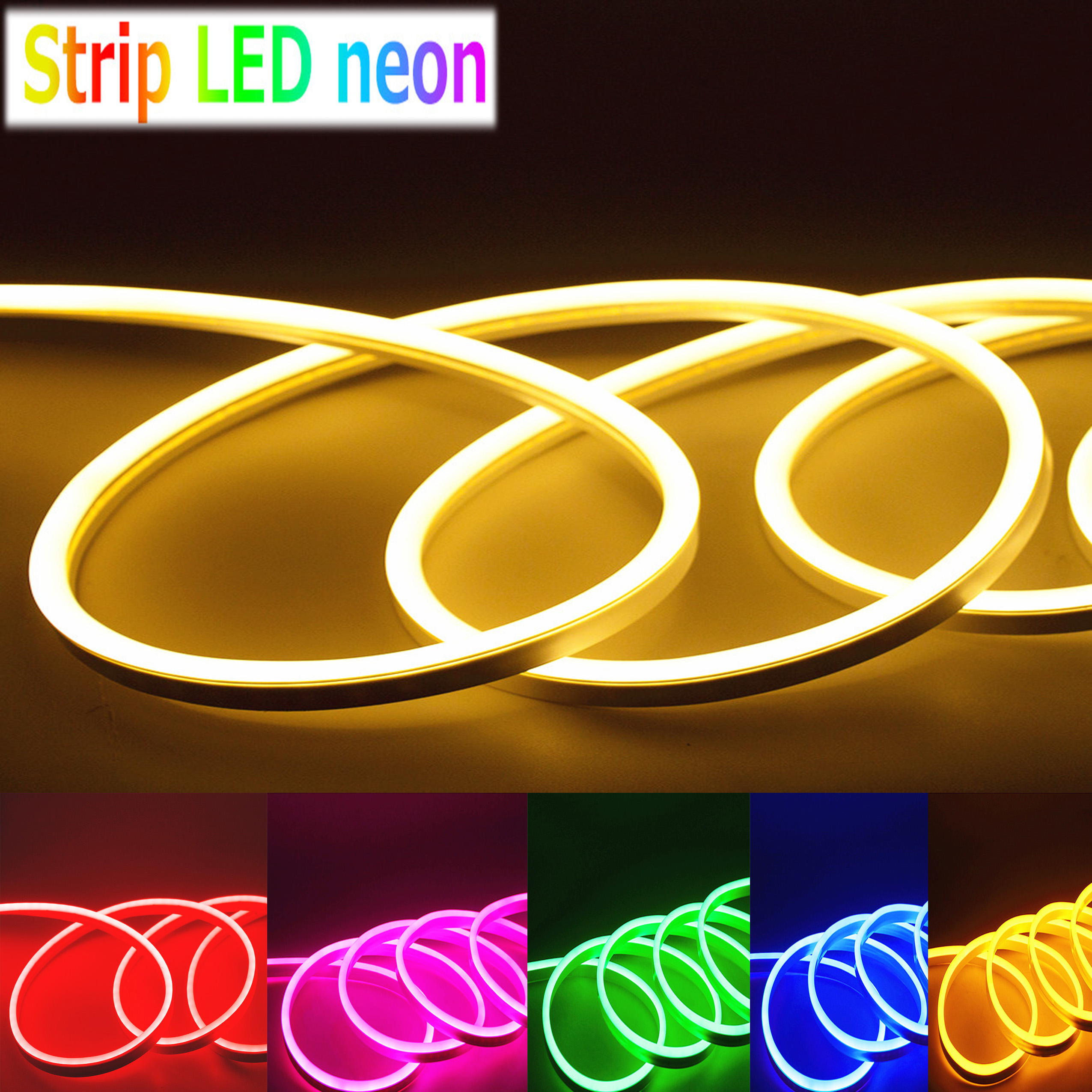 110V 360° LED Neon Rope Light Pink DIY AD Sign Home Decor Outdoor Party US