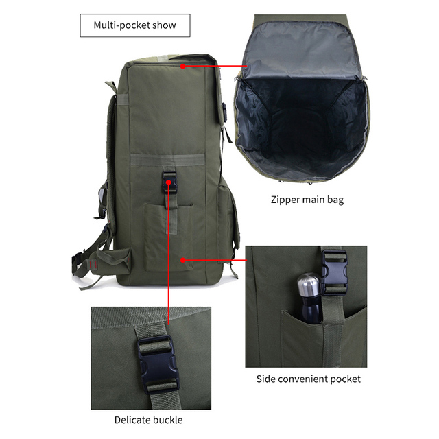 110L large Men Hiking Rucksack Camping Backpack Army Bag Outdoor Climbing Trekking Mountaineering Mochila Blaso Sport XA860WA 4