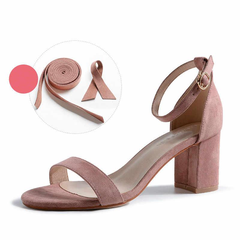 Kadın sandalet 2020 yaz ayakkabı kadın 6.5CM kare yüksek topuklu katı Faux süet akın ayak bileği çözgü terlik bayan düğün sandalet