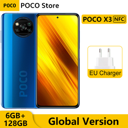 Глобальная версия Xiaomi POCO X3 NFC 6 ГБ ОЗУ 128 ГБ ROM мобильный телефон Snapdragon 732 Octa Core 6,67 дюймDotDisplay 64-мегапиксельная четырехъядерная камера