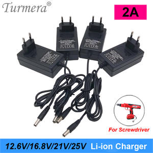 Turmera Lithium-Battery-Charger Screwdriver 18650 25V 2A 21V for 3S 4S 5S 6S 12V To Dc5.5--2.1mm