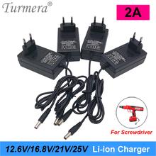 Turmera 12 6V 16 8V 21V 25V 2A 18650 ładowarka akumulatorów litowych DC5 5 * 2 1MM dla 3S 4S 5S 6S 12V do 25V śrubokręt akumulator wykorzystanie tanie tanio CN (pochodzenie) Elektryczne 3s 12 6v 4s 16 8v 5s 21v 6s 25v charger 3 7 В Standardowa bateria Battery Charger 12 6v 16 8v 21v 25v