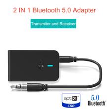 AptX Adaptador de Audio inalámbrico para coche, TV, PC, altavoz, auriculares, clavija Aux de 5,0 MM, baja latencia, 3,5 Bluetooth Transmisor receptor, 2 en 1