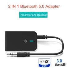 Aptx Lage Latency 5.0 Bluetooth Zender Ontvanger 2 In 1 Audio Draadloze Adapter Voor Auto Tv Pc Speaker Hoofdtelefoon 3.5mm Aux Jack