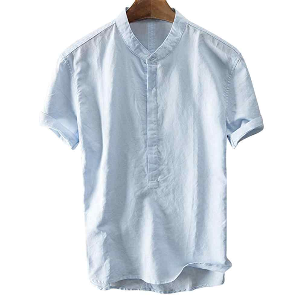 Cool and breathable stand collar Polyester shirt short-sleeved Cool And Thin Breathable Collar Blouse dropship May24