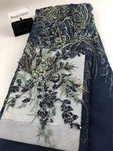 Wysokiej jakości francuski koronki ślubne netto z kamienia nowy Nigeria zroszony tiul gipiura szycia suknia wieczorowa H0142