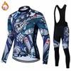 2022 winter warm fleece  men's long-sleeved cycling jersey set for outdoor cycling MTB Ropa Ciclismo bib set warm cycling jersey