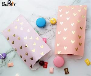 Image 3 - 100 pçs blush rosa papel deleite sacos folha de ouro coração festa presente doces sacos cor violeta para aniversário chá de bebê casamento
