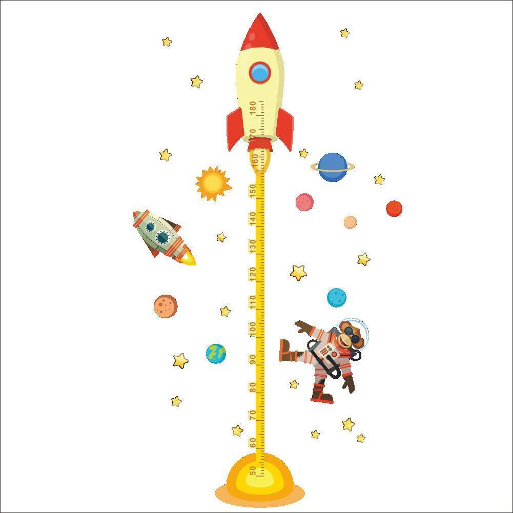 1PC DIY Outer Space Planet Monkey Pilot Rocket Decal For Kids Sticker Room Growth Baby Wall Nursery Height Chart Gifts Meas V3Z7