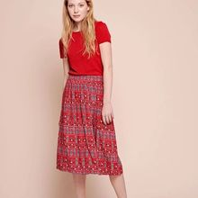 Autumn New Style Pineapple Cherry Print Viscose Midi Skirt