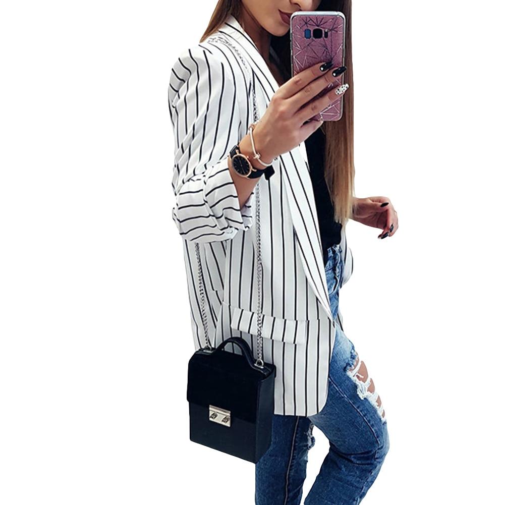 Fashion Women Autumn Vertical Stripes Long Sleeve Cardigan Slim Blazer Jacket Autumn Fashion Office Lady Solid Color Blazer Long