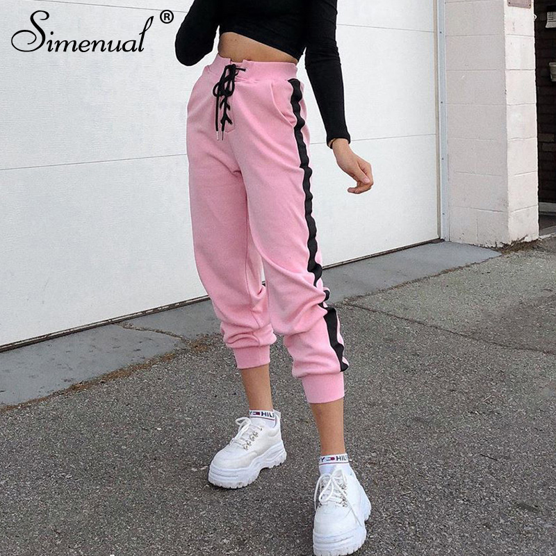 Simenual Casual Sporty Solid Women Sweatpants Fashion Side Strip Drawstring Pants Workout Active Wear Skinny Pink Pencil Pants