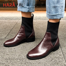 HARAVAL Fashion Vintage Lady Ankle Boot Winter Luxury Genuine Leather Square Toe Low Heels Shoes Solid Slip-on Women Boots B208
