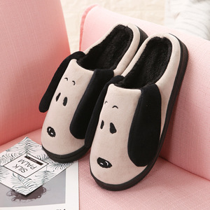 Image 2 - WFL Women Shoes Soft Cozy Flock Carton Dog Prints Anti slip Sole Winter House Slippers Indoors Bedroom Warm Cotton Slippers