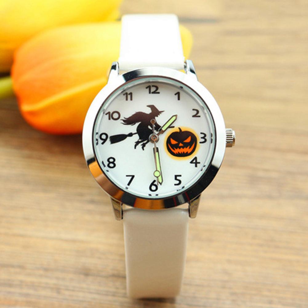 BLUELANS Fashion Halloween Pumpkin Lantern Witch Luminous Analog Quartz Watch For Child Leather Strap Wrist Watch Gift