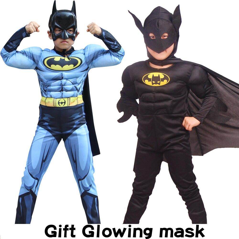 Çocuk erkek kız kas Batman kostümleri maskesi pelerin film karakter süper kahraman karnaval parti/cadılar bayramı Superman elbise