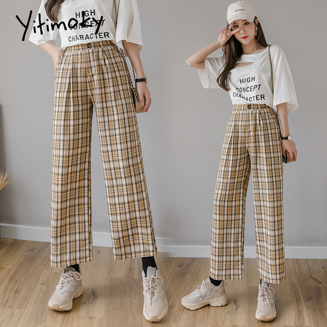 Yitimoky Vintage Plaid Pants Women High Waist Plus Size Wide Leg Casual Female Trousers 2021 Summer Joggers Clothes Streetwear 3